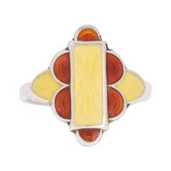 Art Deco Enamel Sun Ring
