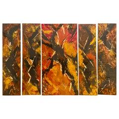 Art Deco Enamel Wall Glass Art in the Manner of Jackson Pollock