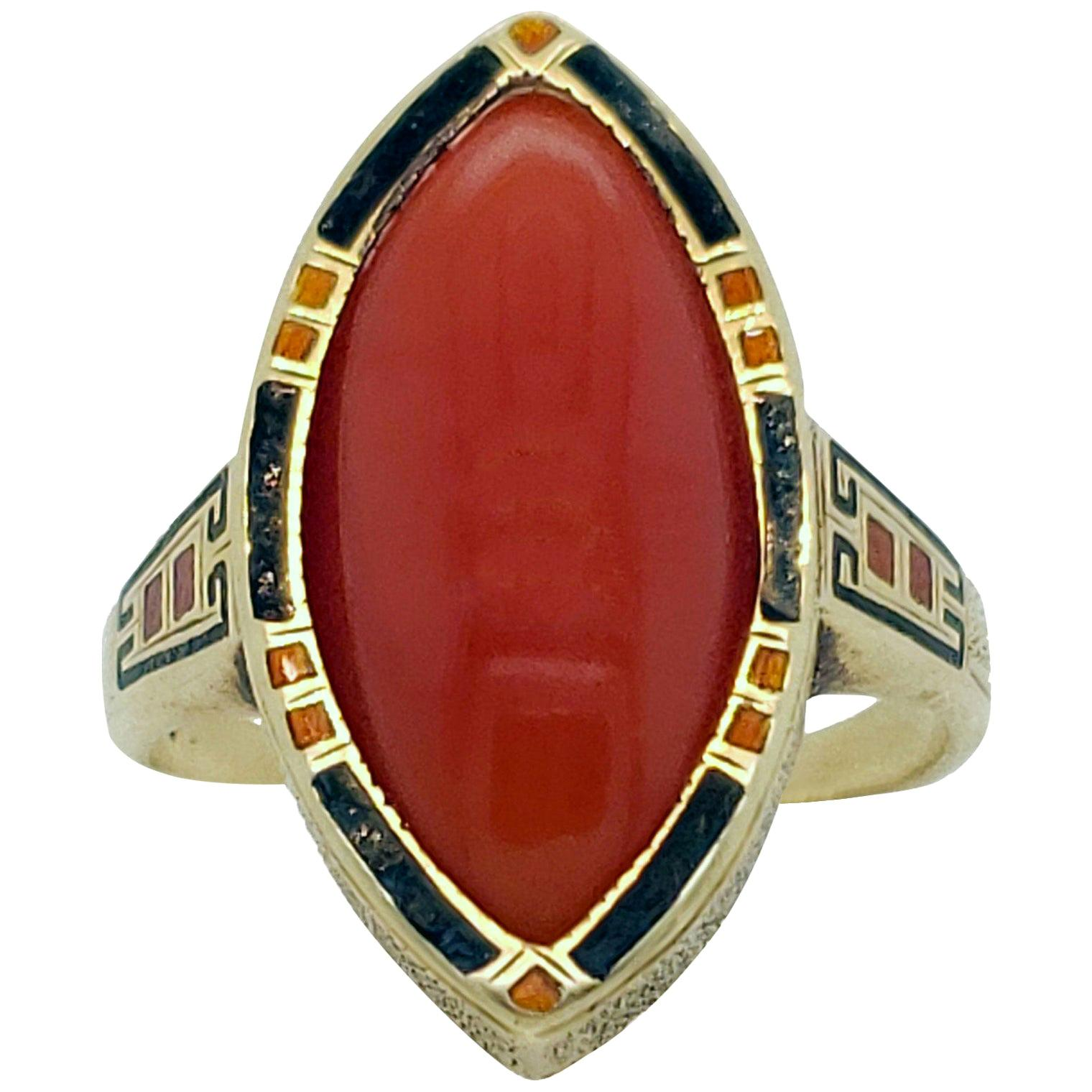 Art Deco Enameled 14 Karat Gold and Red Coral Cabochon Ring
