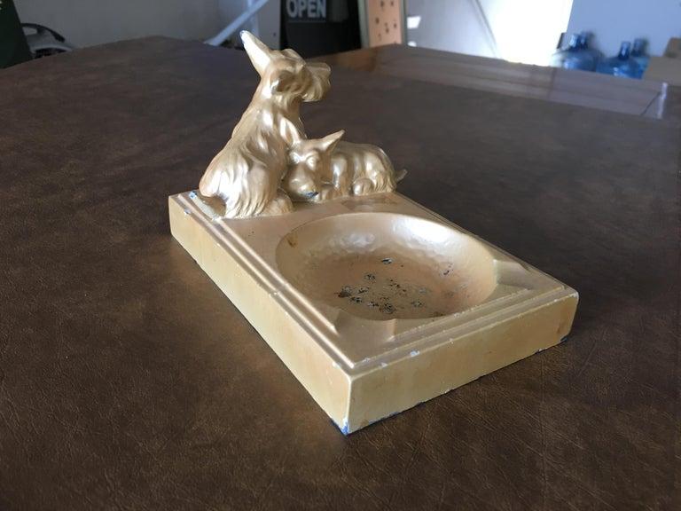 American Art Deco Enameled Spelter Metal Terrier Ashtray For Sale
