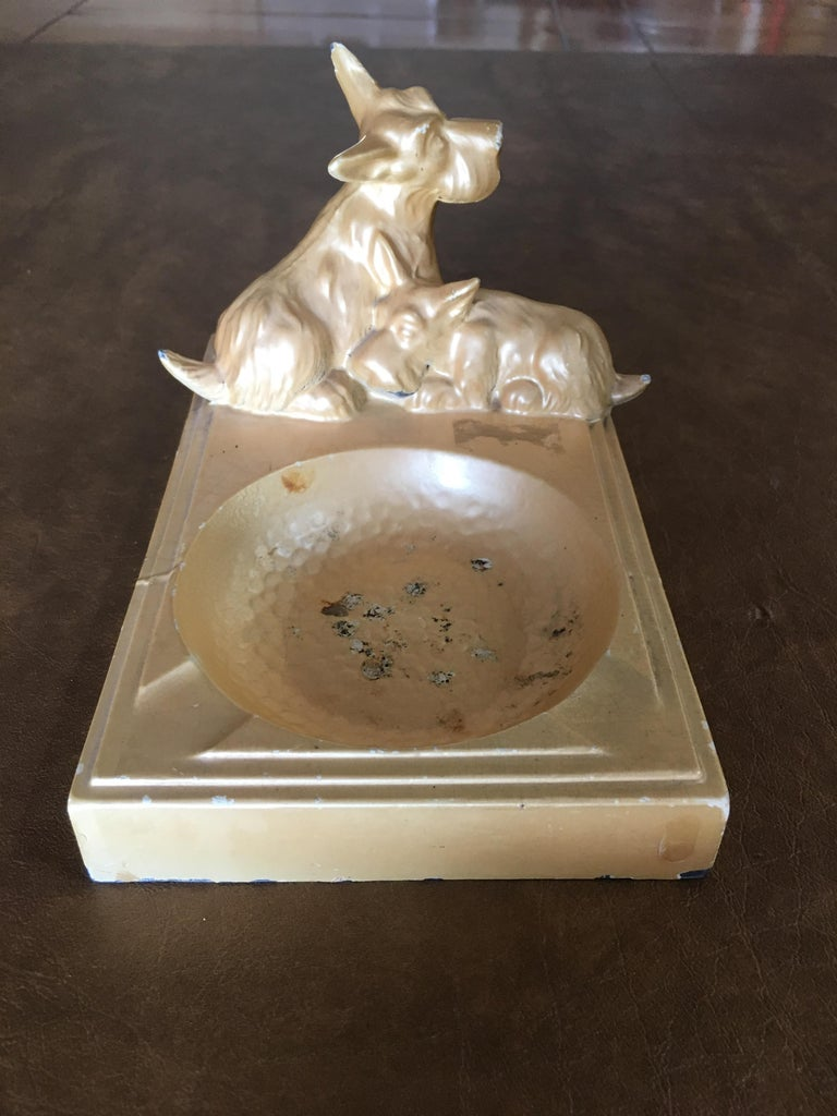 Art Deco Enameled Spelter Metal Terrier Ashtray For Sale 1