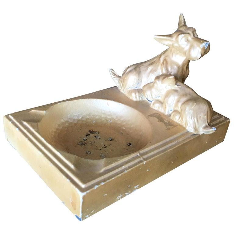 Art Deco Enameled Spelter Metal Terrier Ashtray For Sale