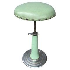 Art Deco Enameled Steel Adjustable Pedestal Dentist Stool by KEM Weber