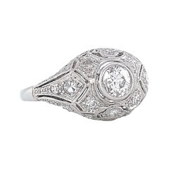 Art Deco Engagement Ring Diamond Platinum 14 Karat White Gold Bombé Ring