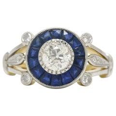 Art Deco Engagement Ring Old Mine Diamond Sapphire Halo 18 Karat White Gold