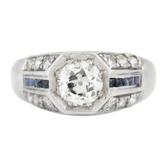 Art Deco Engagement Ring with Sapphires and Diamonds