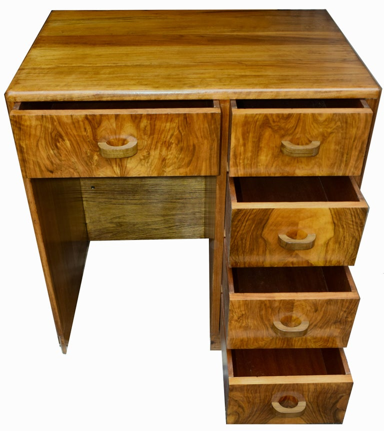 20th Century Art Deco English Compact Walnut Writing Desk, 1930s For Sale