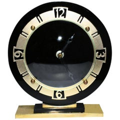 Art Deco English Glass Mantle Clock