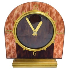 Art Deco English Mantle Clock Faux Tortoise Shell, circa 1930s