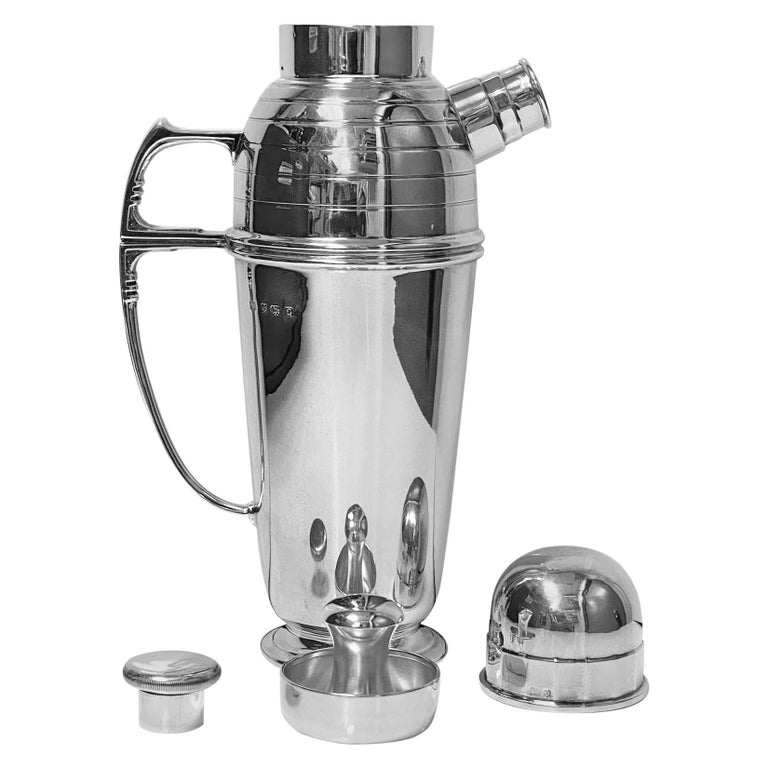 Art Deco English Silver Cocktail Shaker, Birmingham 1913 Pearce & Sons For Sale