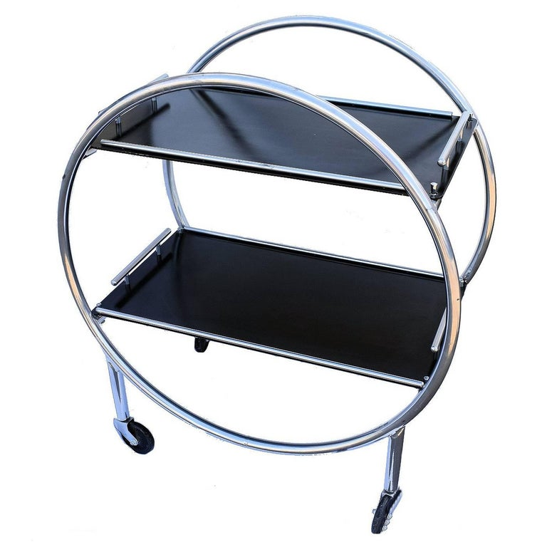 Art Deco English Two-Tier Chrome Bar Cart Hostess Trolley
