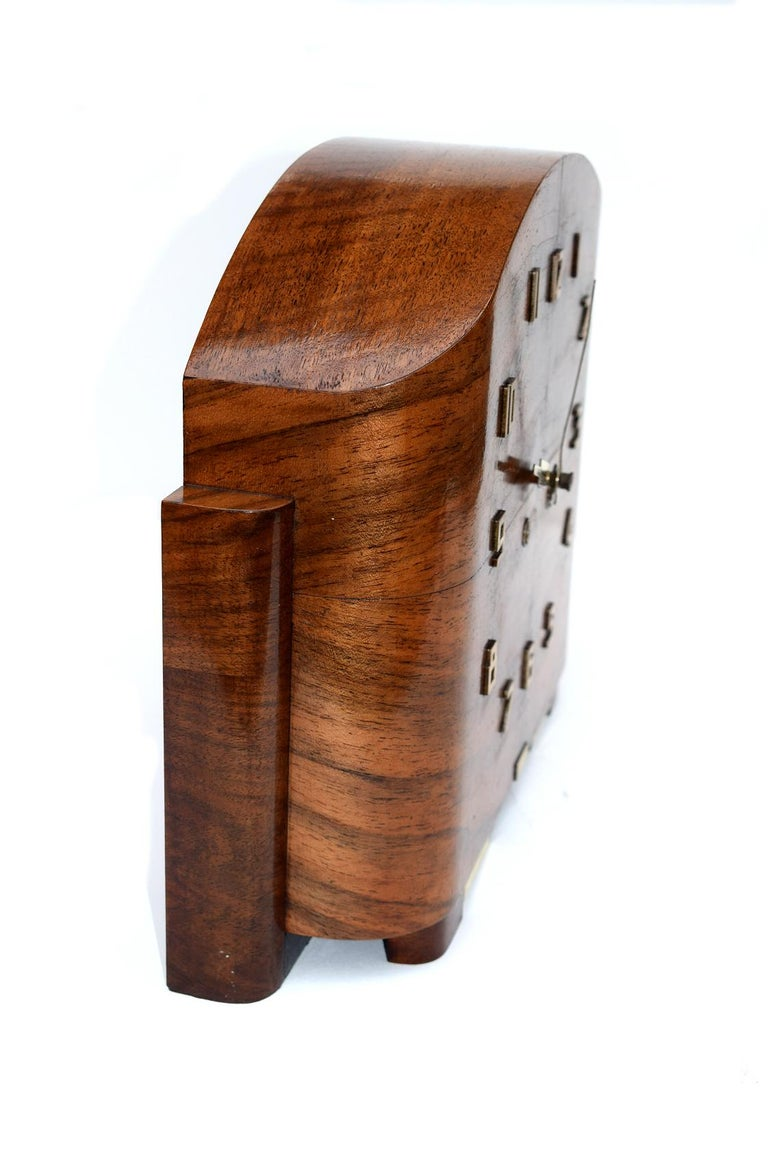 Art Deco English Walnut Eight Day Mantle Clock In Excellent Condition For Sale In Devon, England