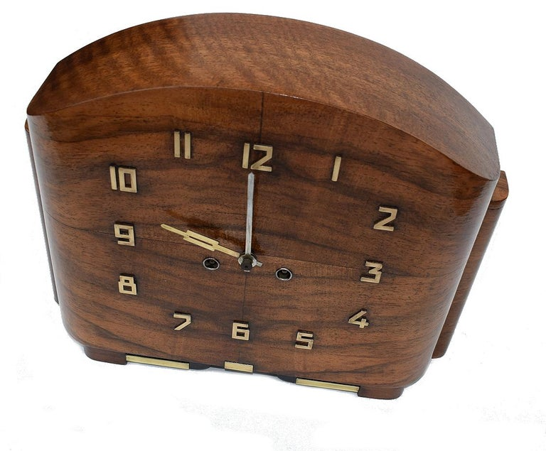 20th Century Art Deco English Walnut Eight Day Mantle Clock For Sale