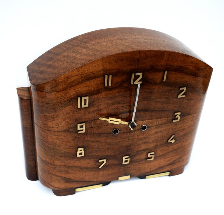 Art Deco English Walnut Eight Day Mantle Clock For Sale 1