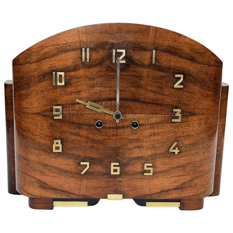 Art Deco English Walnut Eight Day Mantle Clock For Sale