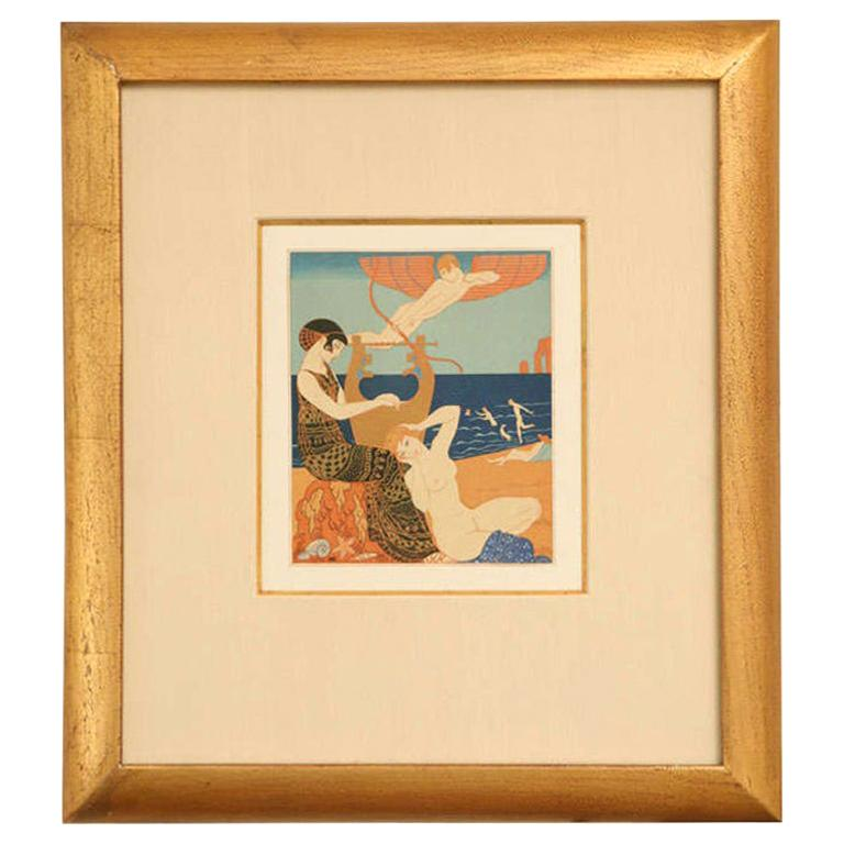 Art Deco Engraving by George Barbier from Chansons De Bilitis For Sale