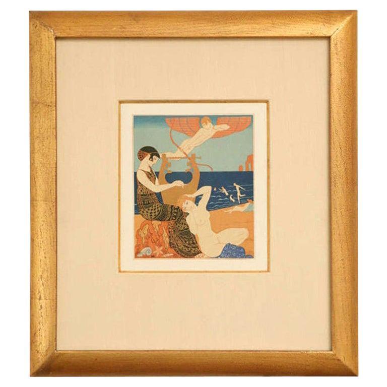Art Deco Engraving by George Barbier from Chansons De Bilitis Portfolio For Sale