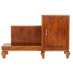 Art Deco Entrance Cabinet, Console in Walnut Restored and Published to Wax