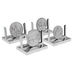 Art Deco Equestrian Interest Sterling Silver Set of 4 Menu Holders Mappin & Webb