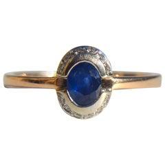 Art Deco Era 1920s 14 Karat Rose Gold .35 Carat Sapphire Diamond Halo Ring
