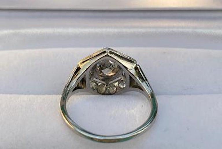 Art Deco Era 2.20 Carat Diamond and Platinum Fancy Hexagon Shaped Ring For Sale 5