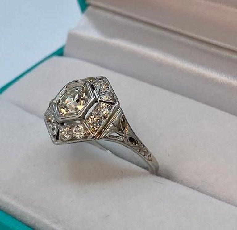 Old European Cut Art Deco Era 2.20 Carat Diamond and Platinum Fancy Hexagon Shaped Ring For Sale