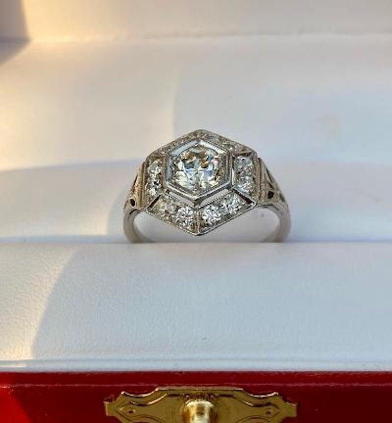 Art Deco Era 2.20 Carat Diamond and Platinum Fancy Hexagon Shaped Ring For Sale 2