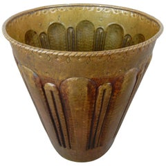 Art Deco Era Artisan Hammered Brass Cachepot
