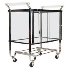 Art Deco Era Chrome, Lucite and Glass Cabinet Bar Cart by Treitel Gratz
