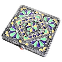 Art Deco Era Continental Silver and Enameled Cigarette Case, Box or Compact