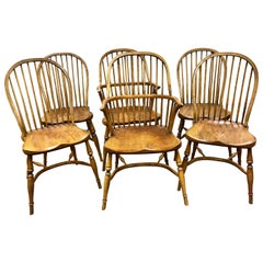 English Handcrafted Oak Wood Windsor Spindle Back Dining Chairs
