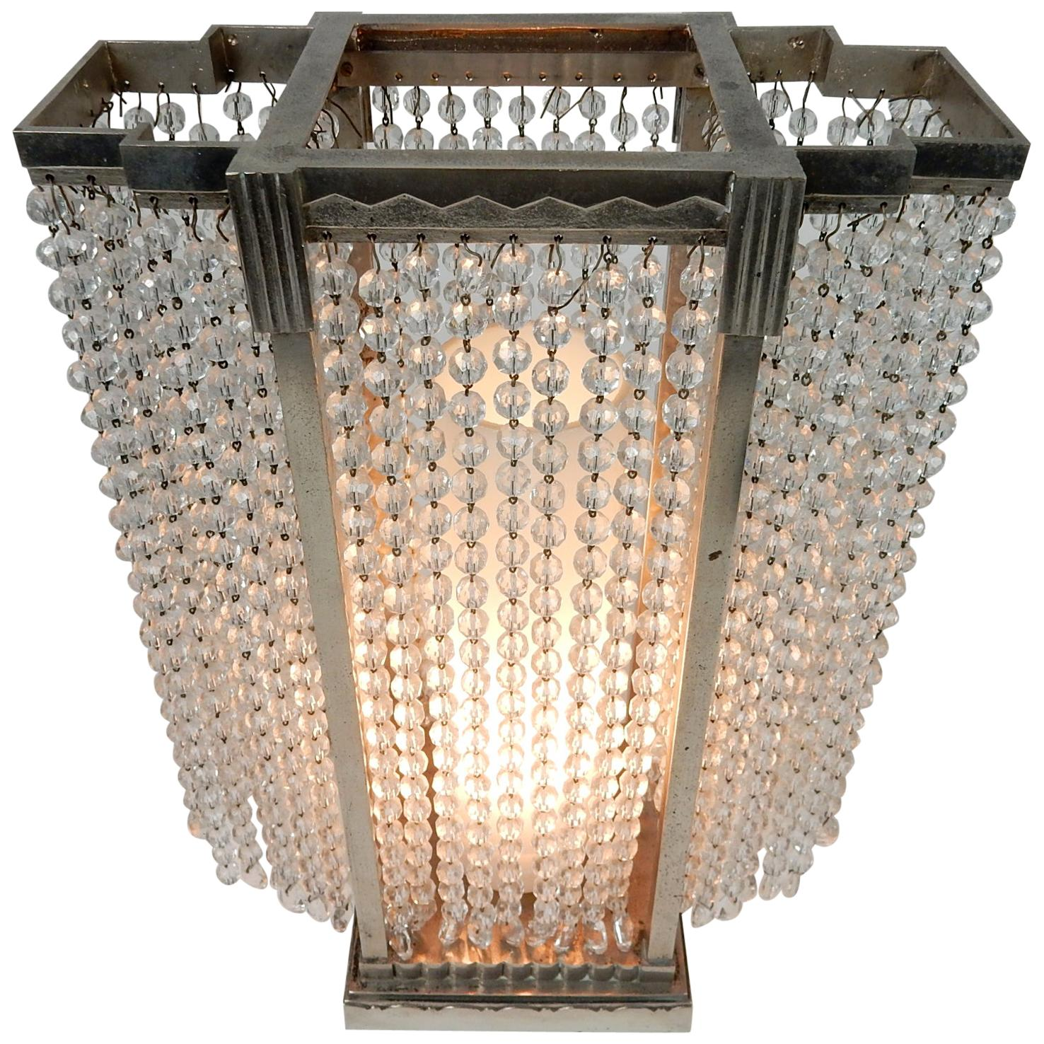 Art Deco Era Glass Bead Skyscraper Illuminare Lamp