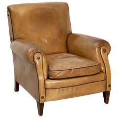 Art Deco Era Leather Club Chair from France