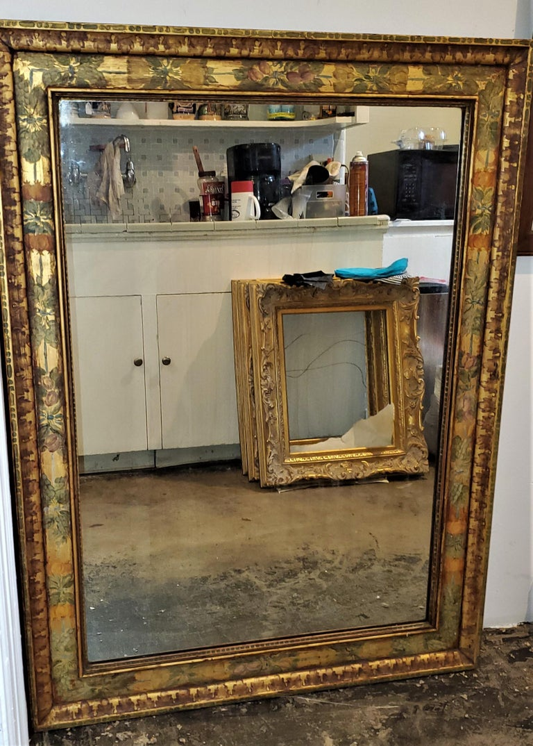 Hand-Crafted Art Deco Era Nena Claiborne Hand Painted Mirror For Sale