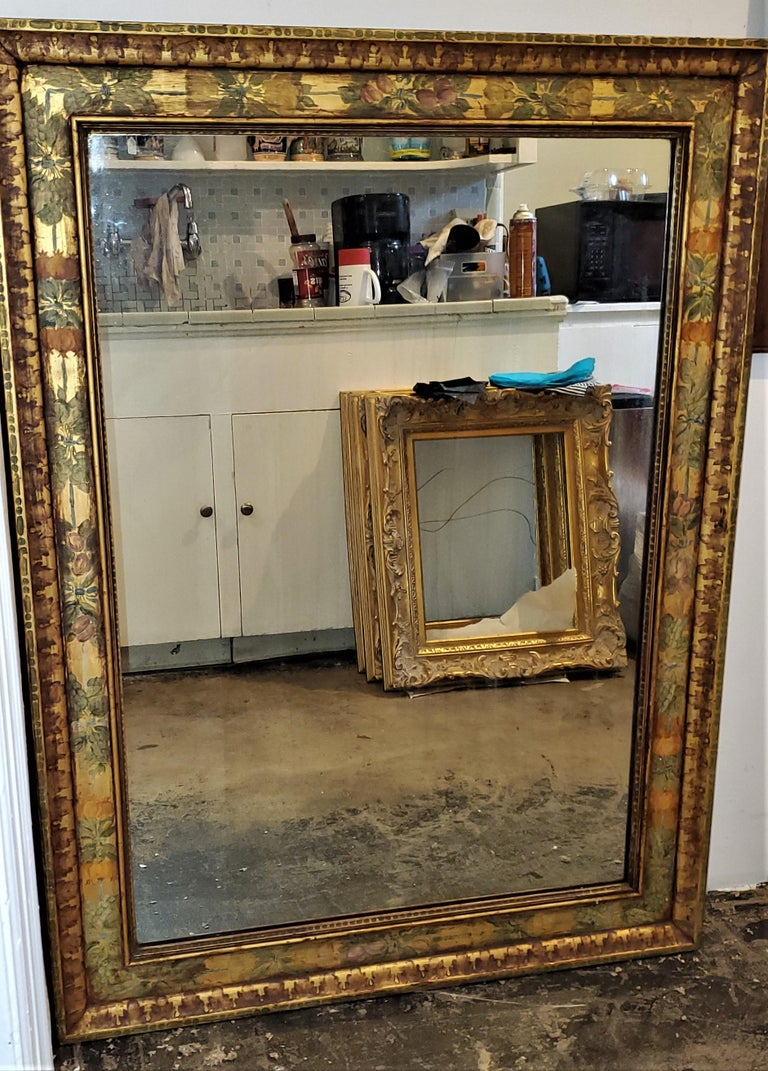 Art Deco Era Nena Claiborne Hand Painted Mirror In Good Condition For Sale In Dallas, TX