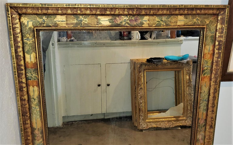 20th Century Art Deco Era Nena Claiborne Hand Painted Mirror For Sale