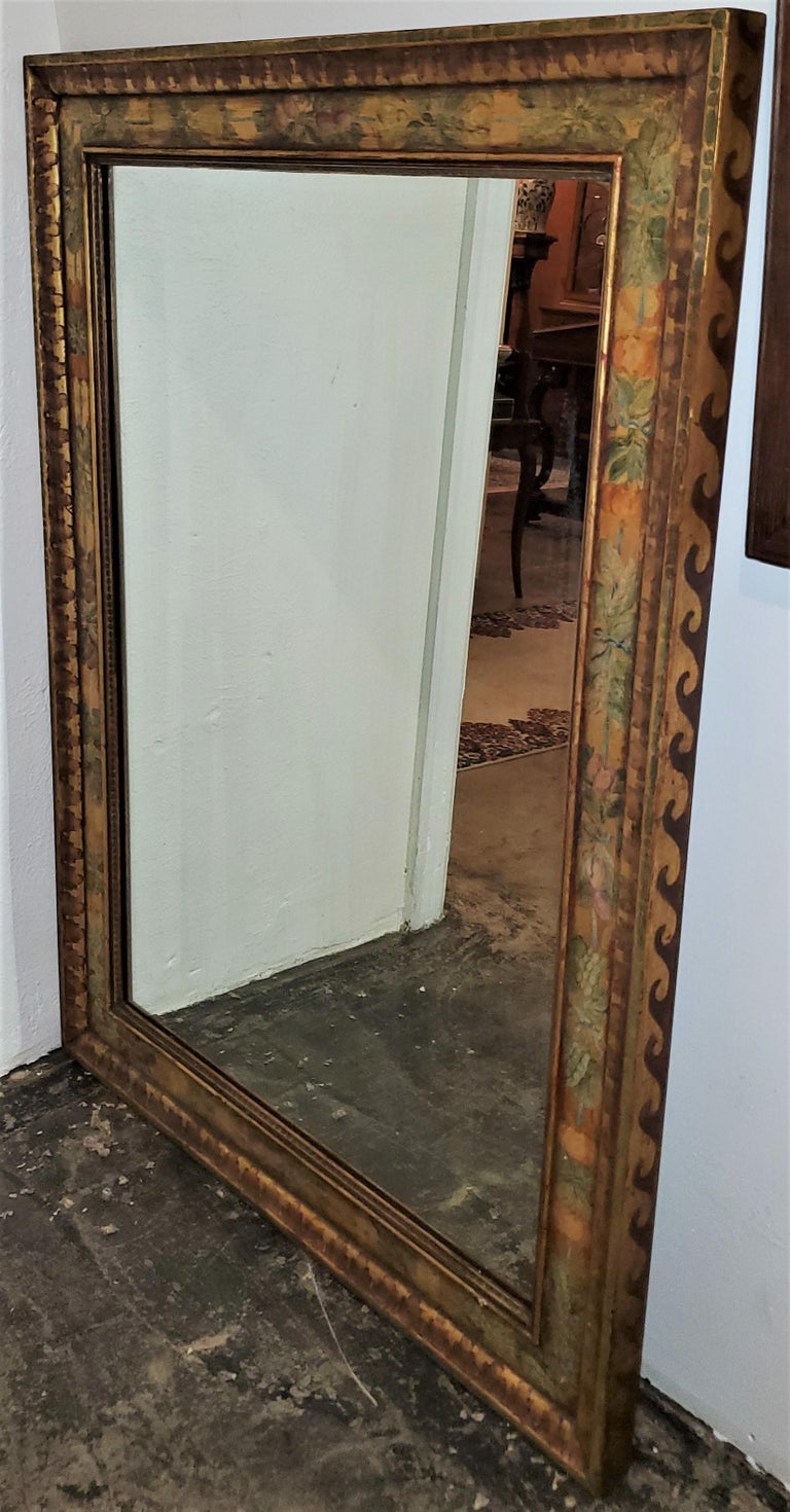 Art Deco Era Nena Claiborne Hand Painted Mirror For Sale 2