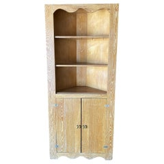 Art Deco Era Oak Corner Cupboard Cabinet Shelf