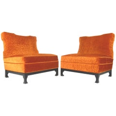 Art Deco Era Orange Velvet Slipper Chairs