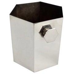 Art Deco Era Silver Plate Ice Bucket in Geometric Form with Hexagon Handles