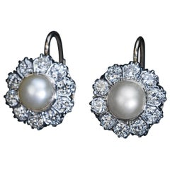 Art Deco Era Vintage Pearl and Diamond Earrings