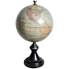 Art Deco Era Weber-Costello 12 Inch Desk World Globe with Turned Wooden Base