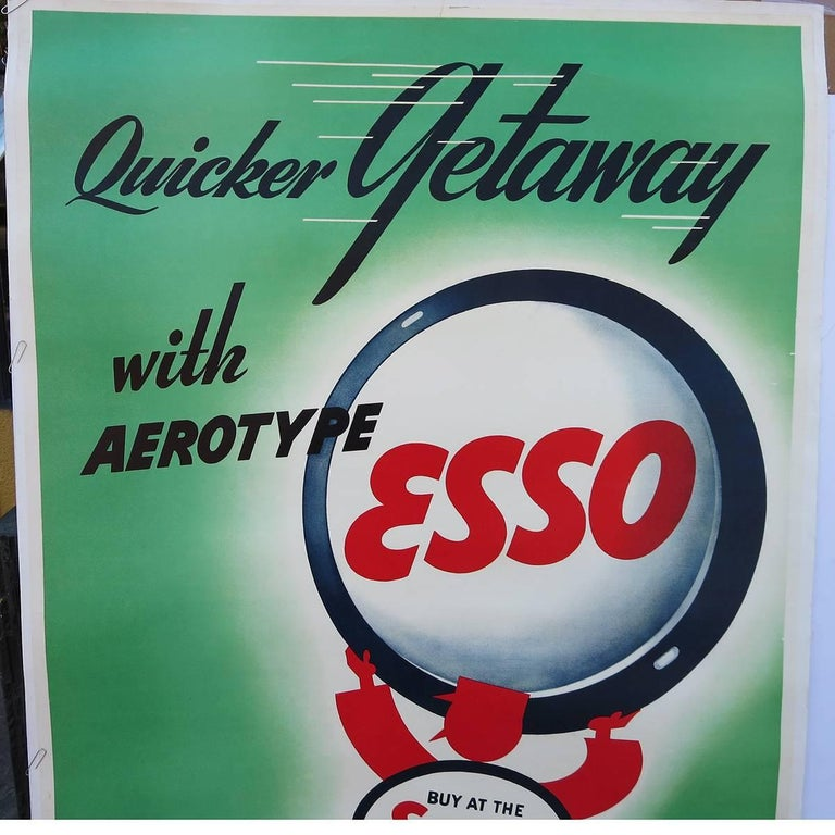 American Art Deco Esso Gasoline 1930s Advertising Poster For Sale