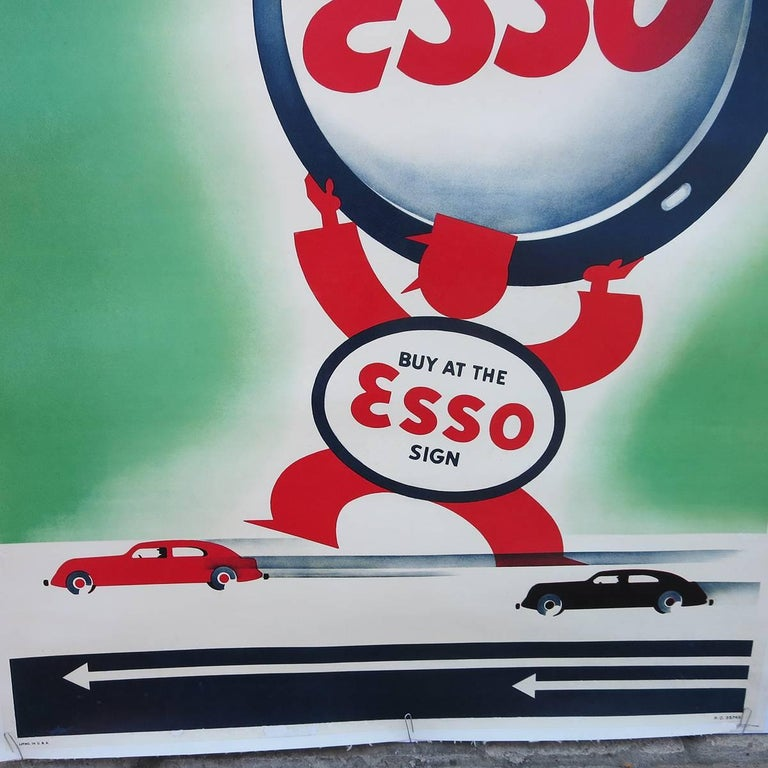 Art Deco Esso Gasoline 1930s Advertising Poster In Excellent Condition For Sale In Los Angeles, CA