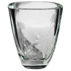 Art Deco Etched Crystal Glass Vase, Sweden, 1930s