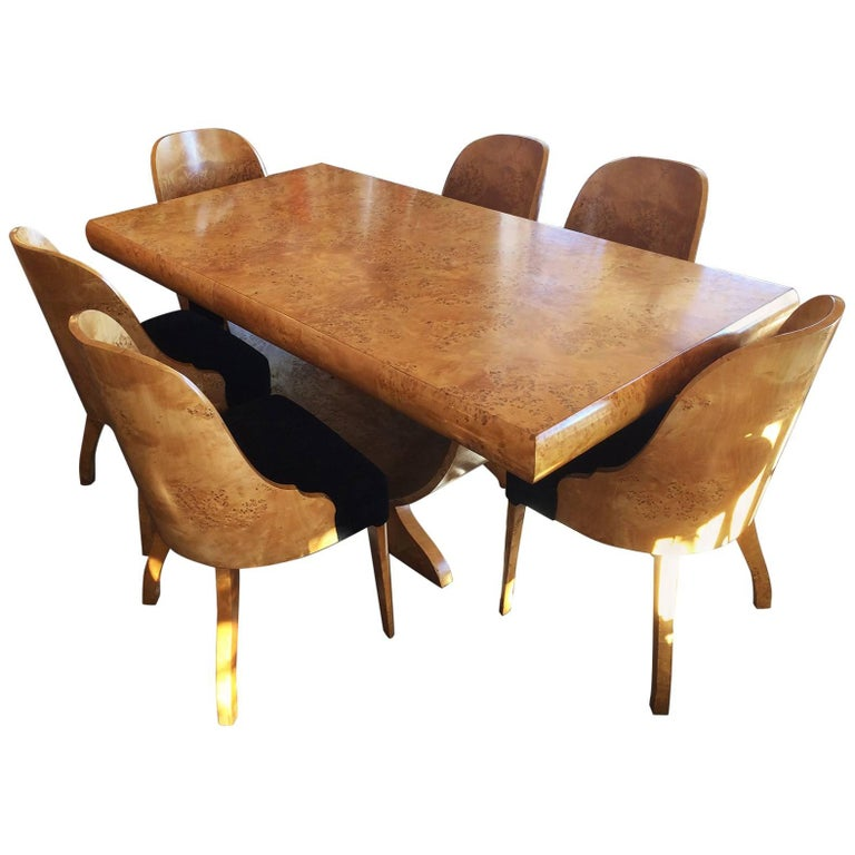 European Dining Room Furniture: Art Deco European Birch Dining Suite Table And Chairs At