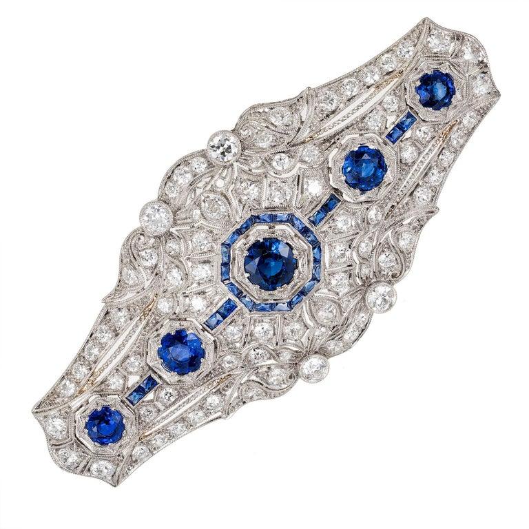 9.50 Carat Ceylon Sapphire Diamond Art Deco Platinum Brooch