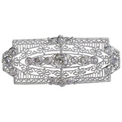 Art Deco European Cut Diamond Filigree Brooch