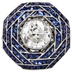Art Deco European Diamond Sapphire Cocktail Ring