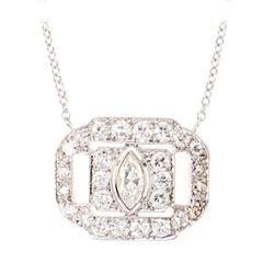 "Art Deco ""Everyday"" Diamond Platinum Pendant"